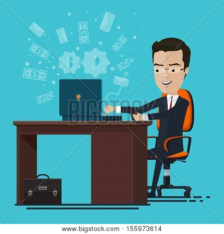 A businessman or manager sitting at the table send email smartphone in hand Vector illustration in flat cartoon style isolated from the background EPS 10