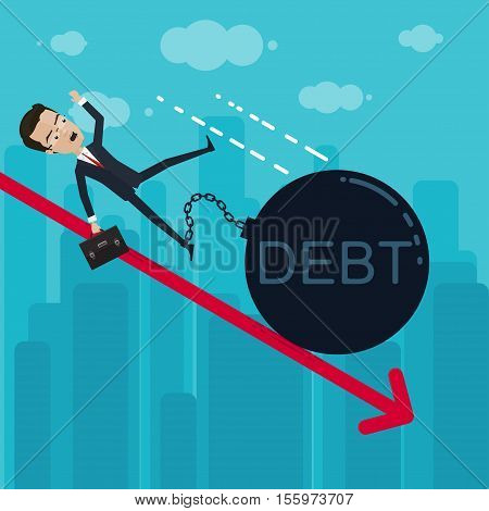 A businessman or manager falls to the foot chained heavy ball debt Vector illustration in flat cartoon style isolated from the background EPS 10