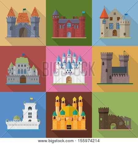 Flat design long shadow castles, palaces, mansions, fortresses and ruins vector illustration. Medieval fortified buildings and fantasy castles.
