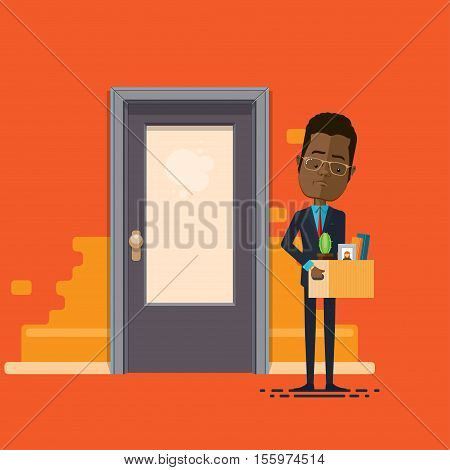 A businessman or manager fired lowering holding box with personal belongings Vector illustration in flat cartoon style isolated from the background EPS 10
