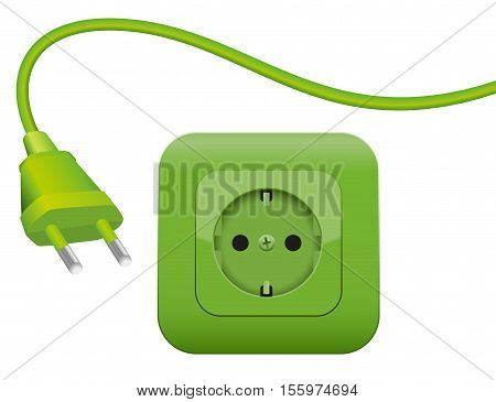 Green plug and socket - clean eco power - green energy