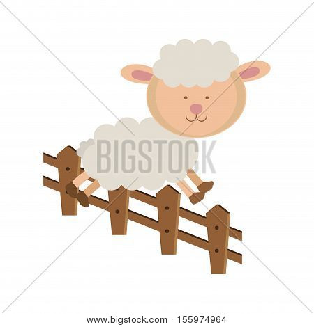sheep jumping a fence . Animal cartoon and nature theme. Isolated and drawn design. Vector illustration