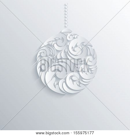 Holiday Design white Christmas 3D Ball With Shadows