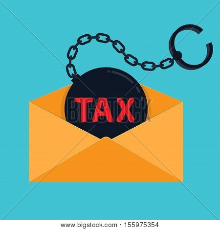Shackle with the inscription tax envelope Vector illustration in flat cartoon style isolated from the background EPS 10