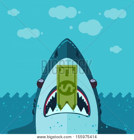 shark eats dollar Vector illustration in flat cartoon style isolated from the background EPS 10