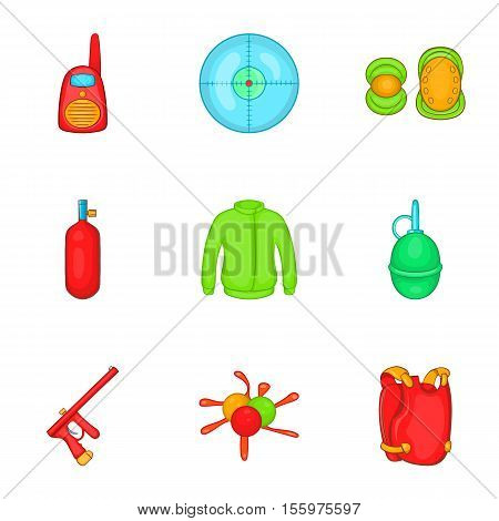 Paintball icons set. Cartoon illustration of 9 paintball vector icons for web