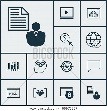 Set Of Advertising Icons On Ppc, Brain Process And Focus Group Topics. Editable Vector Illustration.
