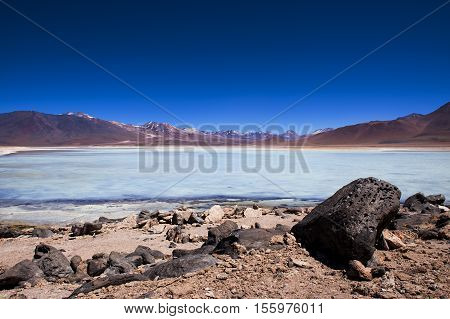 View of the Laguna Blanca in the Potosi Department in Bolivia South America