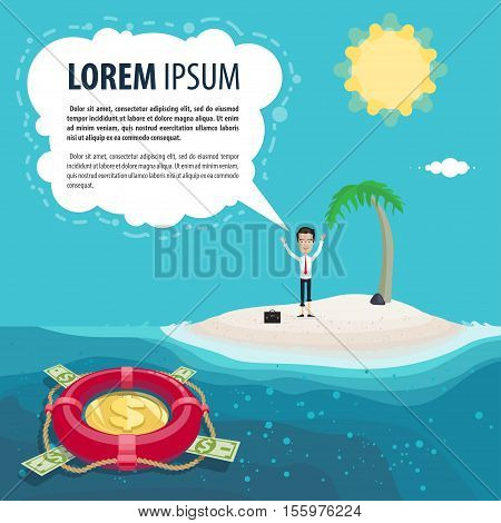 businessman clerk or manager on a desert island a lifeline Vector illustration in flat cartoon style isolated from the background EPS 10