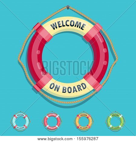 Lifebuoy set welcome on board Vector illustration in flat cartoon style isolated from the background EPS 10