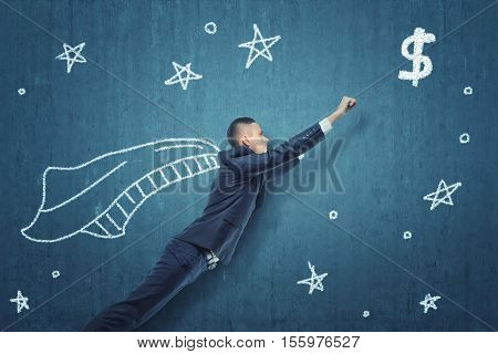 A businessman flying like Superhero to get money, on a blue background with stars. In the pursuit of profit. The rush of winning. Business development and the way to success.