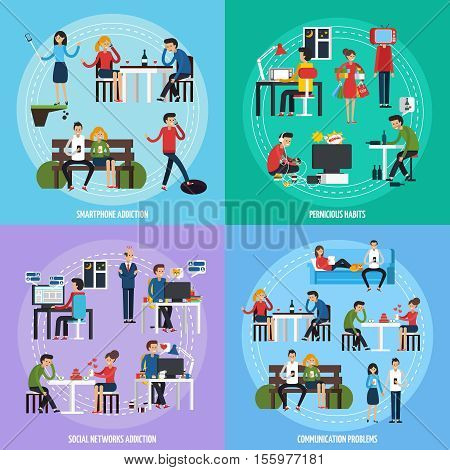 People obsessions template with different socical and person addictions and problems in flat style vector illustration