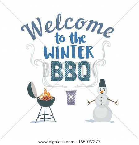 Winter outdoors concept. Cartoon retro style poster. Welcome invitation to barbecue picnic. Season holiday leisure banner background. Flaming garden BBQ grill, roasted sausage. Vector illustration