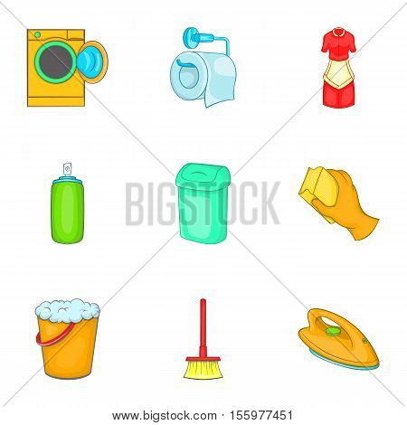 Sanitation icons set. Cartoon illustration of 9 sanitation vector icons for web