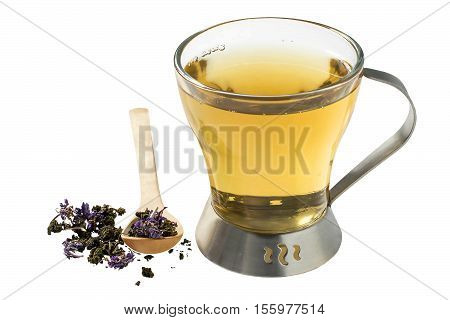 Useful herbal tea from dry fermented fireweed (Chamerion angustifolium) also known as great willowherb or rosebay willowherb isolated on white background. Traditional Russian Koporye Tea (Ivan Chai)
