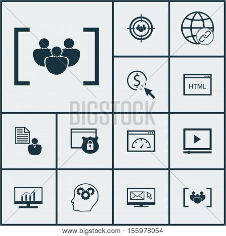 Set Of Marketing Icons On Market Research, Report And Ppc Topics. Editable Vector Illustration. Incl