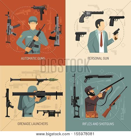 Armed men with weapons guns grenade launchers and pistols 2x2 flat design concept isolated vector illustration