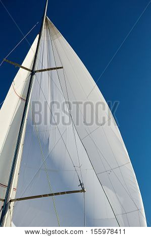 Flying the symmetric spinnaker on the yach in strong wind
