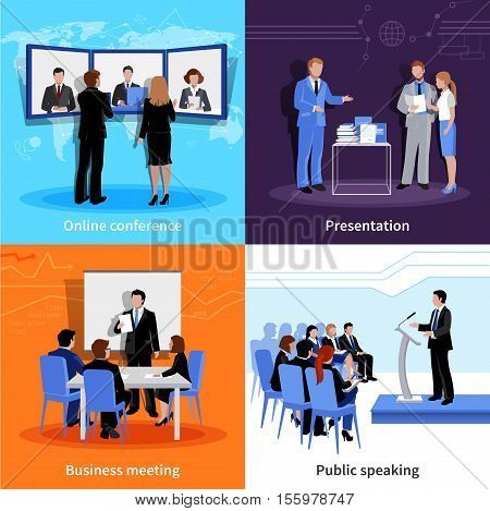 Public speaking 4 flat icons square composition banner with meeting and conference presentations