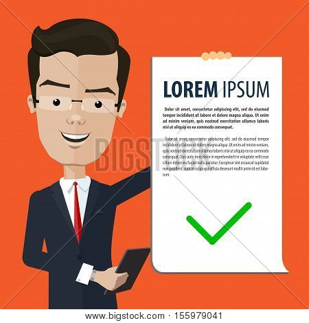 Business man or manager holds in his hand a declaration and tablet Vector illustration in flat cartoon style isolated from the background EPS 10