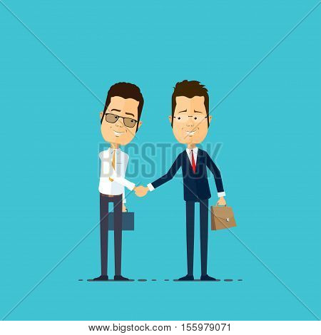 Businessman and manager handshake Vector illustration in flat style isolated from the background EPS 10