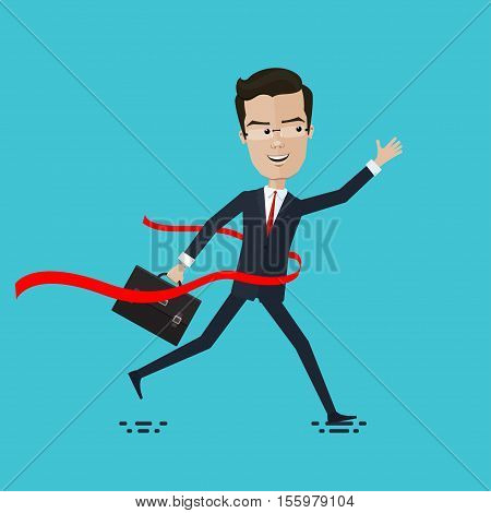 businessman or manager crosses the finish line Vector illustration in flat cartoon style isolated from the background EPS 10