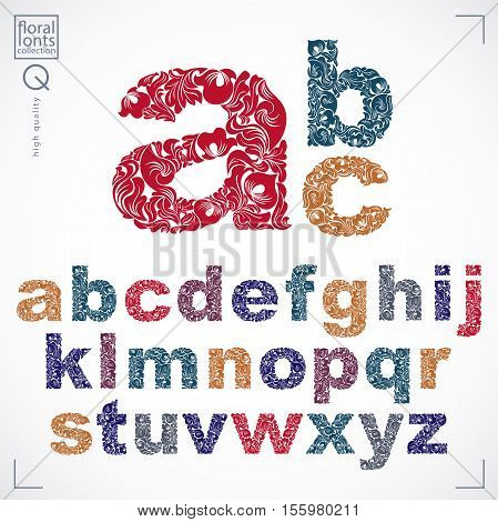 Ecology Style Flowery Font, Vector Typeset Made Using Natural Ornament. Colorful Alphabet Lowercase