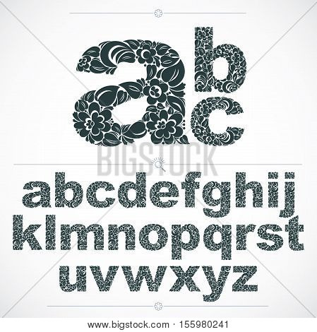 Set Of Beautiful Lowercase Letters Decorated With Herbal Ornament. Black And White Vector Typescript