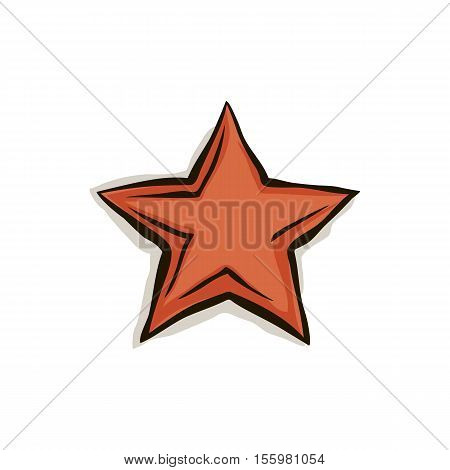 Big cartoon red star with shadow and black contour isolated on white background. Stock vector illustration