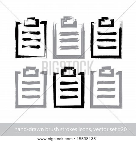 Set of hand-drawn simple prescription pads brush drawing medicine notepad icons