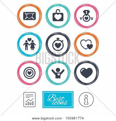 Love, valentine day icons. Target with heart, oath letter and locker symbols. Couple lovers, boyfriend signs. Report document, information icons. Vector