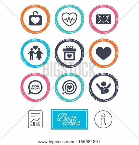 Love, valentine day icons. Target with heart, oath letter and locker symbols. Couple lovers, heartbeat signs. Report document, information icons. Vector