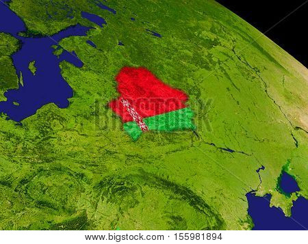 Belarus With Flag On Earth