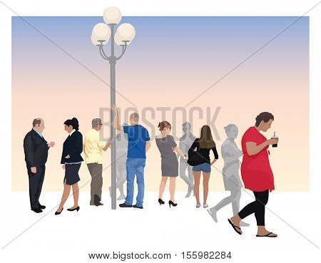 Group of ten people as vector  color illustration. They are talking, walking, standing.