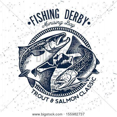 Vintage Trout and Salmon Fishing Emblem. Vector Illustration
