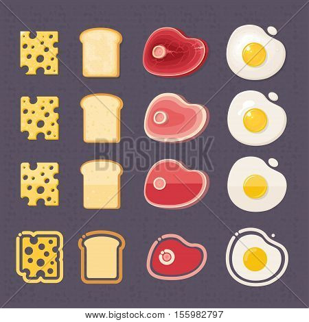 Scrambled eggs bread meat cheese Vector illustration in flat cartoon style isolated from the background EPS 10