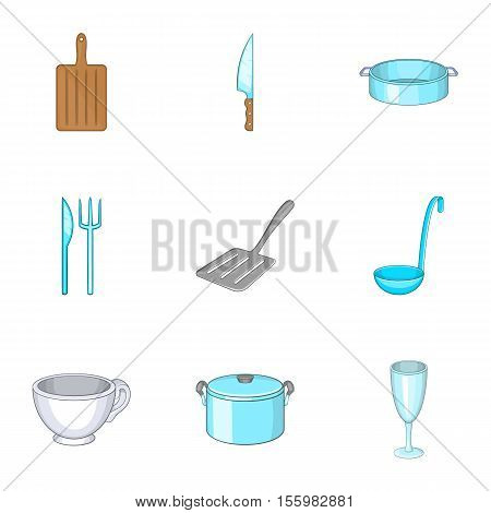 Tableware icons set. Cartoon illustration of 9 tableware vector icons for web