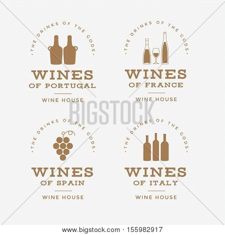 Set of wine labels. Elements for design on the wine theme. Collection of wine symbols: grape, bottle. Modern labels of wine. Emblems and logos of wine. Vector illustration.