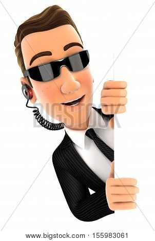 3d security agent peeping over blank wall illustration with isolated white background