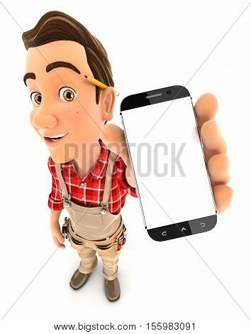 3d handyman holding smartphone illustration with isolated white background