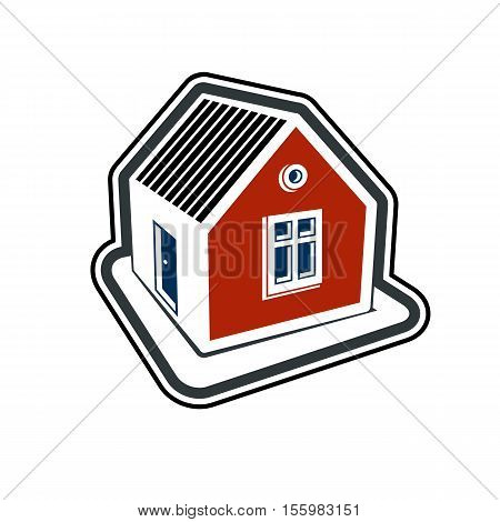 Simple village mansion icon abstract house depiction. Country house conceptual sign best for use in graphic and web design.