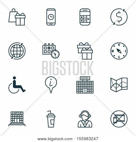 Set Of Airport Icons On Present, Locate And Hotel Construction Topics. Editable Vector Illustration.