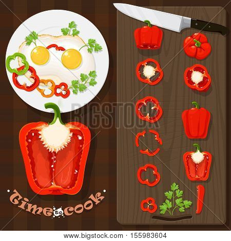 Set chopped peppers eggs herbs a knife. time to cook Vector illustration in flat cartoon style isolated from the background EPS 10