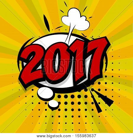 New year 2017. Speech comic bubble text golden background. Pop art style vector illustration. Retro burst expression speech pop art bubble cloud explosion. Boom communication graphic talk humor