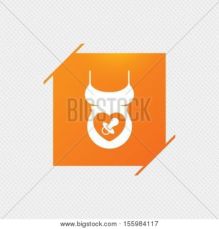 Pregnant woman shirt sign icon. Baby on board with dummy. Maternity symbol Orange square label on pattern. Vector