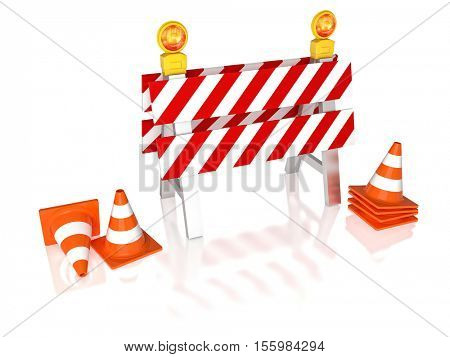 traffic barrier 3d rendering image