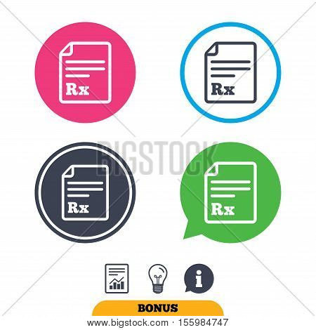 Medical prescription Rx sign icon. Pharmacy or medicine symbol. Report document, information sign and light bulb icons. Vector