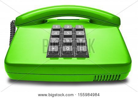 green phone with shadow on a isolated white background