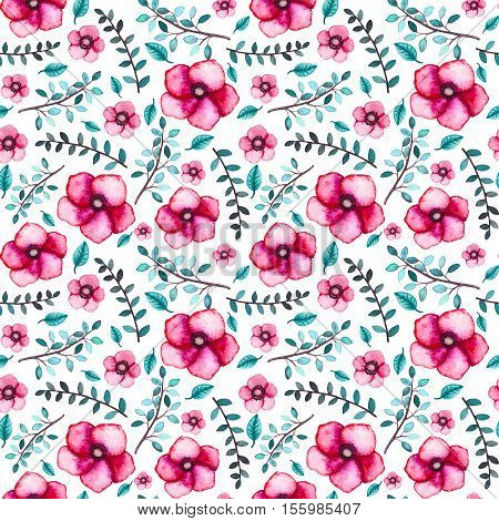 Watercolor Little Blue Leaves and Magenta Flowers Seamless Pattern