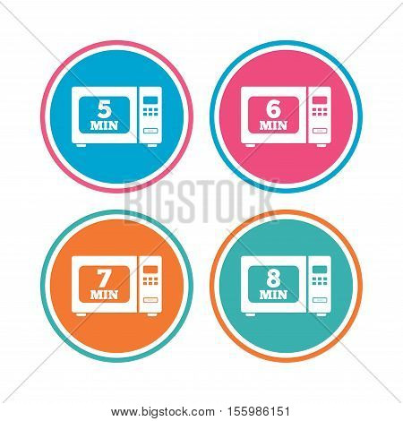 Microwave oven icons. Cook in electric stove symbols. Heat 5, 6, 7 and 8 minutes signs. Colored circle buttons. Vector
